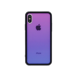 Apple iPhone X/XS - Ovitek iz gume in stekla (TPUG) - Pink-Blue Ombre
