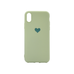 Apple iPhone X/XS - Gumiran ovitek (TPUP) - Mint Green Heart