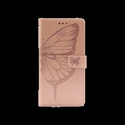 Samsung Galaxy A12 - Preklopna torbica (WLGO-Butterfly) - roza-zlata